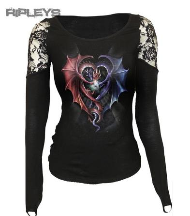 SPIRAL DIRECT Ladies Goth DRAGON HEART Lace Top L/Sleeve All Sizes