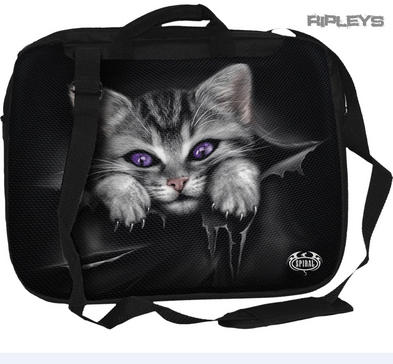 SPIRAL DIRECT Goth Laptop Messenger Bag BRIGHT EYES Kitten Cat