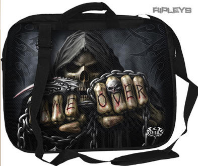SPIRAL DIRECT Goth Punk Laptop Messenger Bag GAME OVER Skeleton