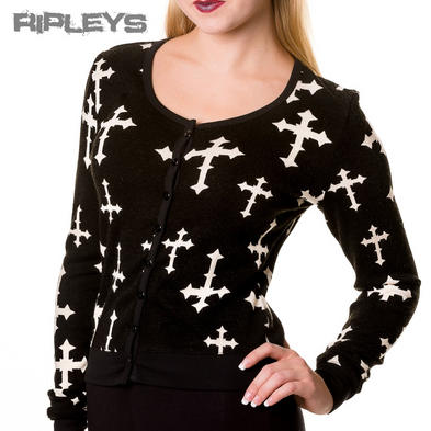BANNED Goth Black CROSS Cardigan Top Shrug Pinup Halloween All Sizes