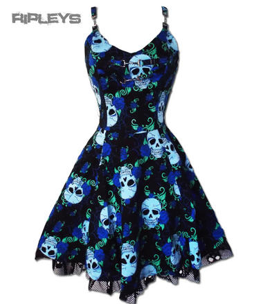 JAWBREAKER Goth Black Mini Dress SKULLS Webs Blue All Sizes
