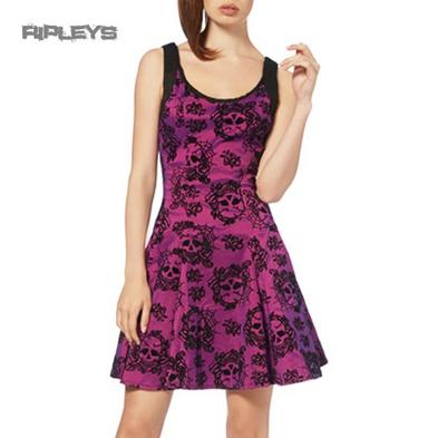 JAWBREAKER Goth Black Mini Dress SKULLS Webs Purple/Pink All Sizes
