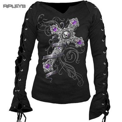 SPIRAL DIRECT Ladies Black Goth TRUE LOVE Top Lace Up L/Sleeve All Sizes