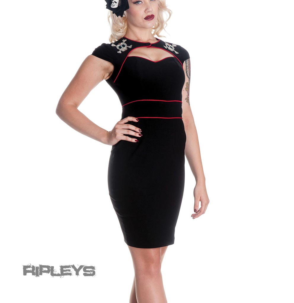 HELL-BUNNY-Black-Red-Fitted-Dress-SUGAR-SKULL-Wiggle-Pencil-All-Sizes