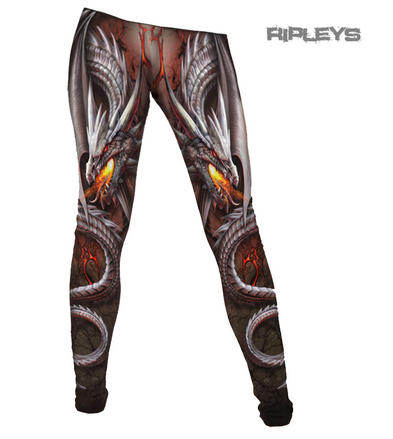 SPIRAL DIRECT Ladies Goth OBSIDIAN LEGGINGS Dragon Lava All Sizes