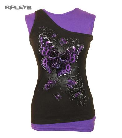 SPIRAL DIRECT Ladies Goth BUTTERFLY Skull 2 in 1 Layered Top All Sizes