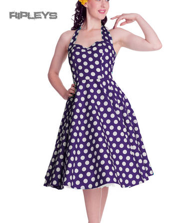HELL BUNNY Polka Dot 50s Dress MARIAM Pin Up PURPLE Dark All Sizes
