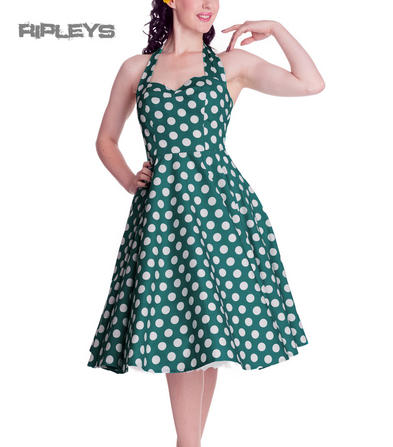 HELL BUNNY Polka Dot 50s Dress MARIAM Pin Up TEAL Green All Sizes