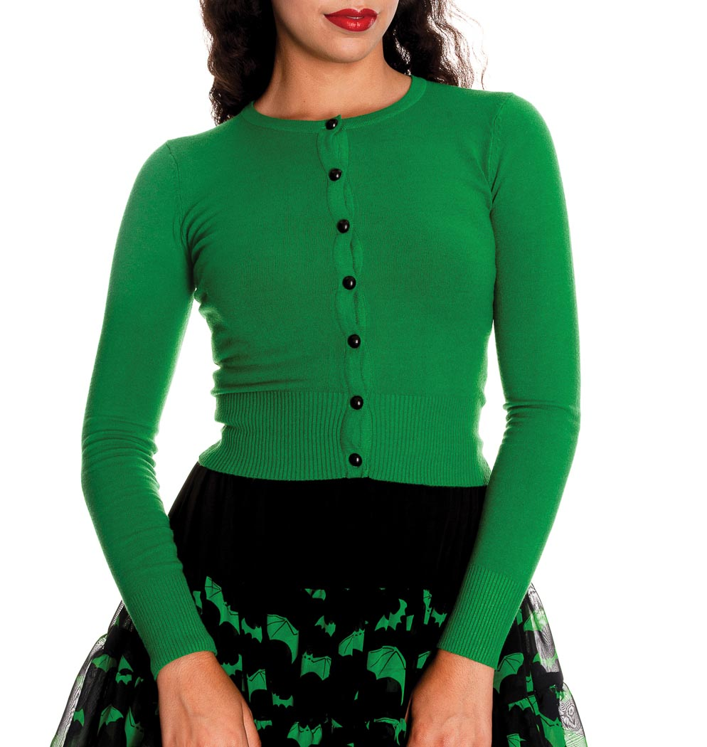 HELL BUNNY Ladies PALOMA 50s Plain Cardigan Top Green All Sizes