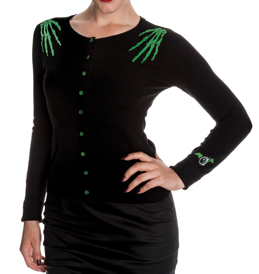 HELL BUNNY Ladies DOOMED Cardigan Top Black Skeleton Hands All Sizes