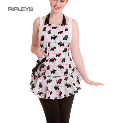 HELL BUNNY Gingham 50s SCOTTIE DOG Apron Pinny Black/Pink 8 - 16