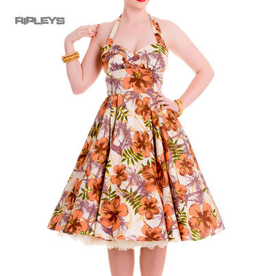 HELL BUNNY Hibiscus 50s Dress KAILA Pin Up Flowers Hawaii White All Sizes