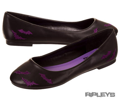 BANNED Dolly Ballerina Shoes BATS Flats Pumps PURPLE Goth All Sizes