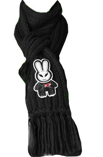 HELL BUNNY Rabbit SCARF Knitted GREY/BLACK Gift Goth