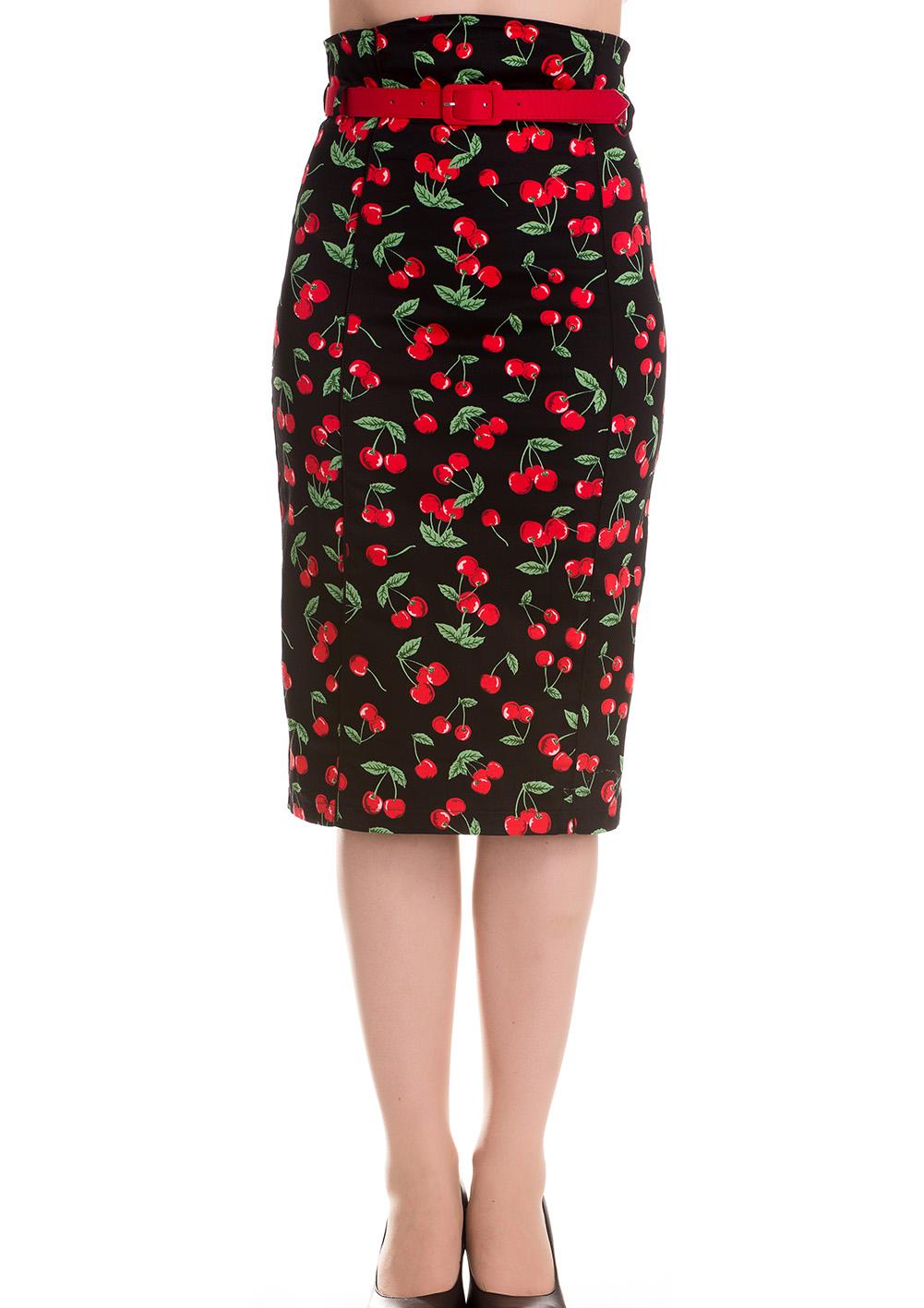 hell bunny 50s rockabilly pencil skirt cherry pop black