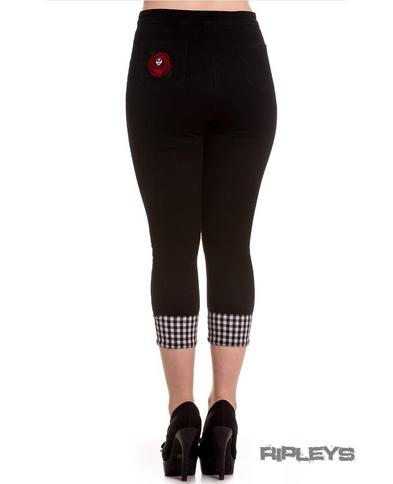 Hell Bunny 50s Black Pedal Pushers SARAH ROSE Capris Capri Trousers All Sizes