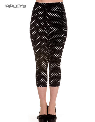 Hell Bunny 50s Black Pedal Pushers KAY Capris Capri Trousers Polka Dot All Sizes