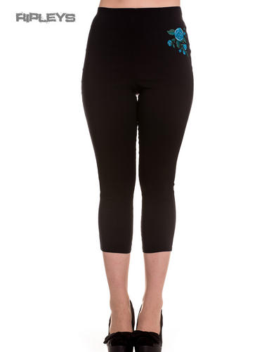Hell Bunny 50s Black Pedal Pushers LILLIAN Capris Capri Trousers Rose Blue All S
