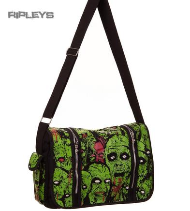 BANNED Clothing Messenger Bag Sensation ZOMBIES Monster Horror Green