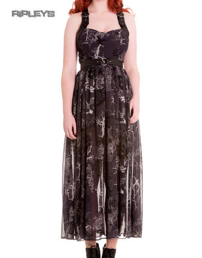 HELL BUNNY Spin Doctor Goth Maxi Dress ALTAIRA Buckle Grunge All Sizes