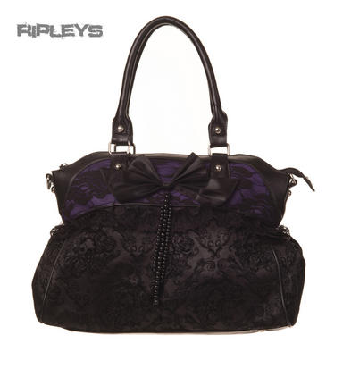 BANNED Clothing Black Purple Handbag Bow WIRE Bag Gothic Lace Burlesque