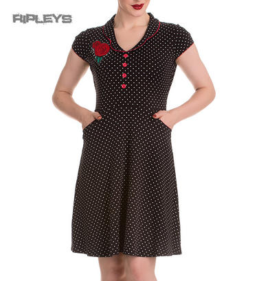 HELL BUNNY Jersey Mini Dress BELOVED Mid Length Polka Rose All Sizes