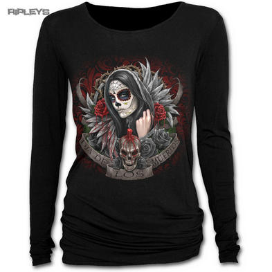 SPIRAL DIRECT Ladies Black Goth Muertos Dias L/Sleeve Top All Sizes