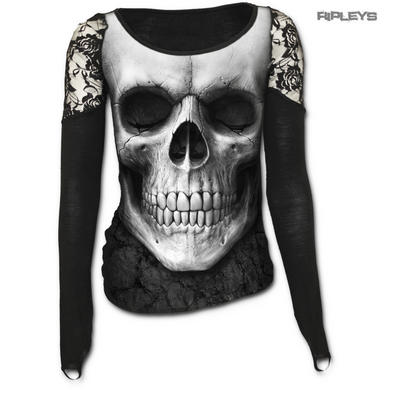 SPIRAL DIRECT Ladies Goth SOLEMN SKULL Lace Top L/Sleeve All Sizes