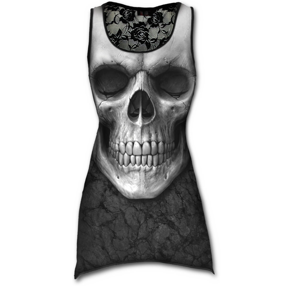 SPIRAL DIRECT Ladies Black Goth SOLEMN SKULL Lace Vest//Top All Sizes