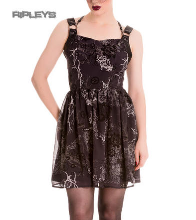 HELL BUNNY Spin Doctor Goth MINI Dress Altaira Buckle Grunge All Sizes