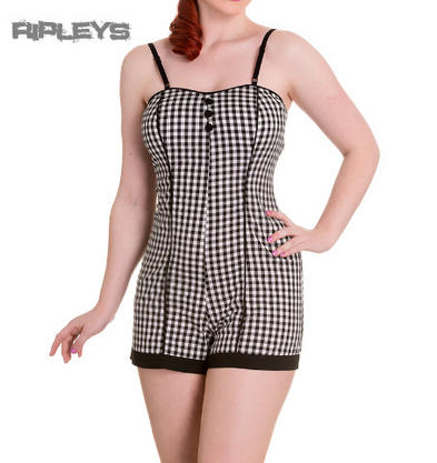 HELL BUNNY 50s ELMA PLAYSUIT Black/White Gingham Summer All Sizes