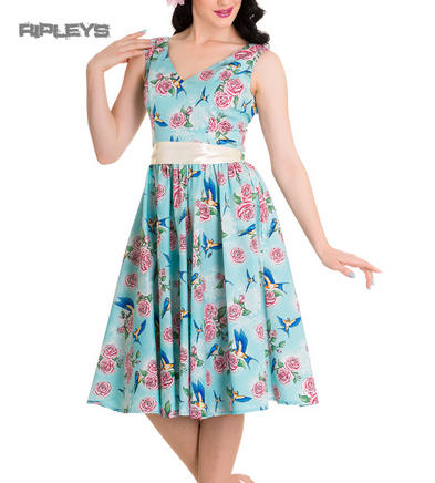 HELL BUNNY 50s Dress LACEY Birds/Roses Turquoise Blue All Sizes