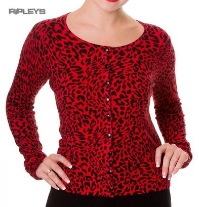 BANNED Black LEOPARD PRINT ~ Red ~ Cardigan Top Shrug All Sizes