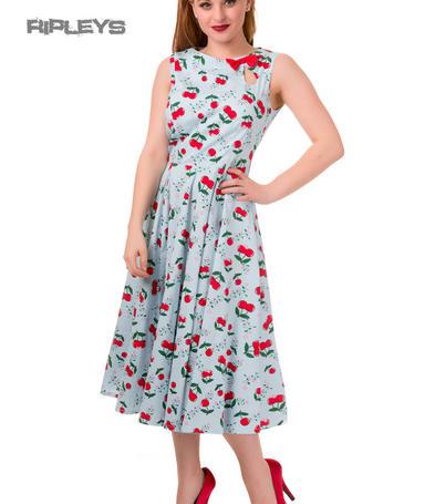 BANNED Sleeveless 50s Blue Dress BLINDSIDE Cherrys BOW All Sizes