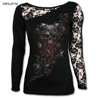 SPIRAL DIRECT Ladies Black Skull DEATHS HEAD Lace Top L/Sleeve All Sizes