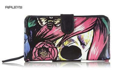 IRON FIST Pink Purple DEAD CRAZY Skull Flowers Goth Wallet Purse
