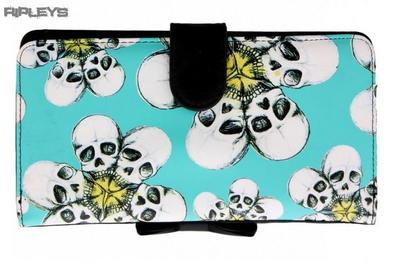 IRON FIST Blue TRIPPING DAISES Skull Flower Wallet Purse