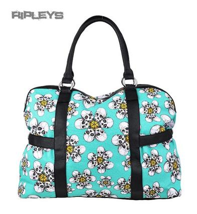 IRON FIST Ladies Overnight Bag TRIPPING DAISES Blue Skulls Flowers