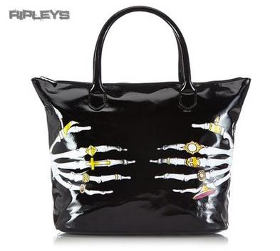 IRON FIST Ladies Tote Hand Bag DEATH GROPER Skeleton PVC Goth