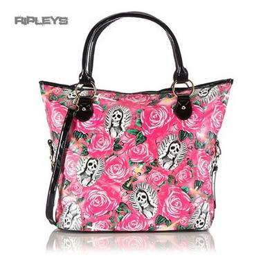 IRON FIST Ladies Tote Hand Bag BEAUTIFUL SINNER Pink Roses PVC