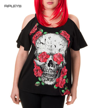 BANNED Goth Vest Top RIVER CITY Skull Roses Floaty All Sizes