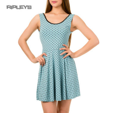 BANNED Ladies Summer Skater Dress JAX ~ BLUE Polka Dot All Sizes
