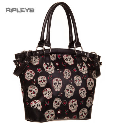 BANNED Clothing PVC Goth Handbag Black MESMERIZE Sugar Skulls Bag