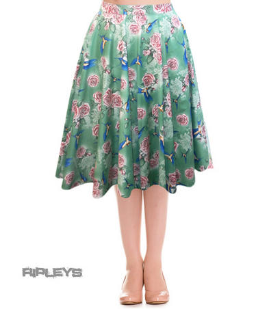 HELL BUNNY 50s Vintage LACEY SKIRT Pin Up Floral Roses Green All Sizes
