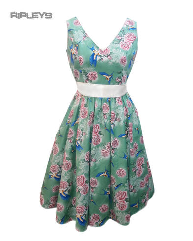 HELL BUNNY Summer 50s Dress LACEY Birds/Roses Green All Sizes