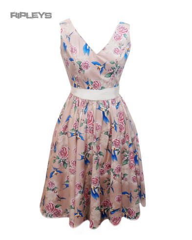 HELL BUNNY Summer 50s Dress LACEY Birds/Roses Beige Latte All Sizes