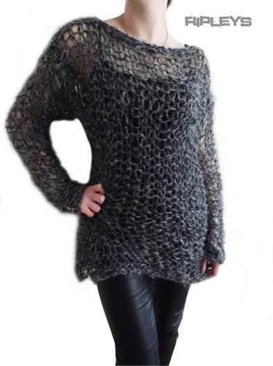Ripleys Clothing ~  Grey Twinkle Fluffy Holey Top Knit Jumper Punk/Goth 10-14