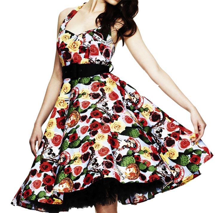 HELL BUNNY Pin up 50s Dress MEXICO Rockabilly Skulls/Roses All Sizes