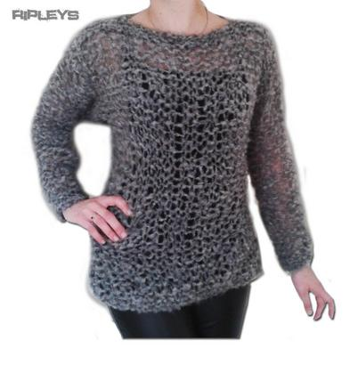 Ripleys Clothing ~ Grey MOHAIR Fluffy Holey Top Knit Jumper Punk/Goth 10-14