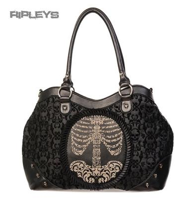 BANNED Clothing Black Flocked Handbag RIBCAGE Skeleton Cameo Goth